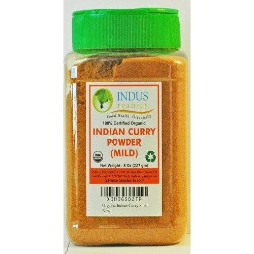 Indus Organics Authentic Indian Curry Powder Blend (Mild), 8 Oz Jar, Salt Free, Premium Grade, Freshly Packed