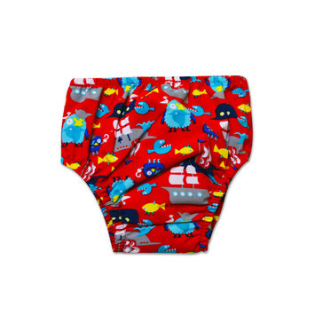 Swim Time Newborn Baby Boys Treasure Island Printed Side Snap Reusable Swim Diaper Bottom with Built