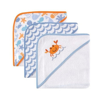 Baby Vision Luvable Friends 3-Pack Hooded Towels, Blue Crab