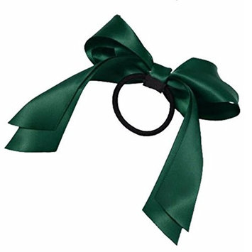 2016 Hair Accessories 1Pc Women Tiara Satin Ribbon Bow Hair Band Rope Scrunchie Ponytail Holder Dark Green