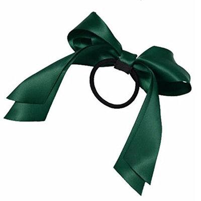 2016 Hair Accessories 1Pc Women Tiara Satin Ribbon Bow Hair Band Rope Scrunchie Ponytail Holder Dark Green