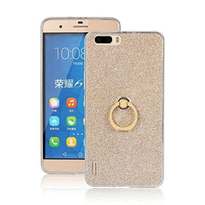 Moonmini Huawei Honor 6 Plus Case Cover Sparkling Slim Fit Soft TPU Back Case Cover with Ring Grip Stand Holder 2 in 1 Hybrid Glitter Bling Bling TPU phone Case Cover
