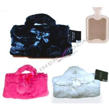 Country Club Faux Fur HandBag Pink, Black, White' Assorted Colour Hot Water Bottle Cover And Natural Rubber Latex