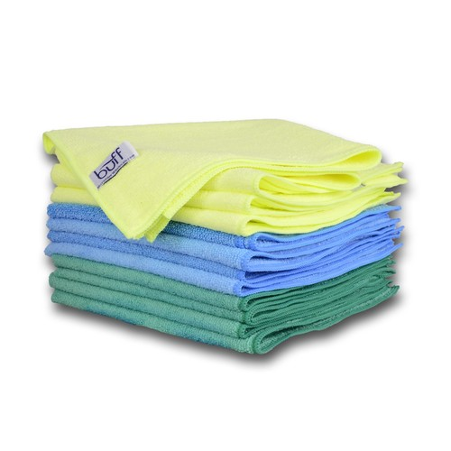 Multi-Color Microfiber Towels 12 Pack by Buff Pro   Professional House-Hold Cleaning Cloths For High Quality Results   large size 16