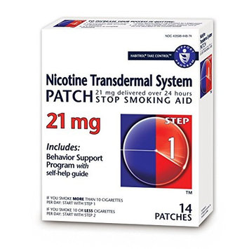 Habitrol Nicotine Transdermal System Stop Smoking Aid, Step 1 (21 mg), 14 Patches Per Box - 4 Boxes