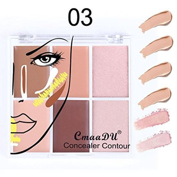 Concealer Cover Cream,FTXJ 6 Colors Full Coverage Moisturizing Matte Oil Control Silky Smooth Prower Texture BB Cream Base Camouflage Cream Contour Palette (Multicolor C)
