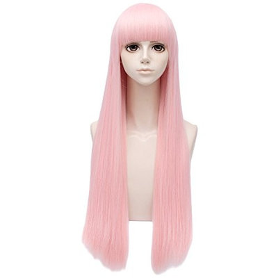 Wimepom Fashion Long Straight Light Pink with Flat Bangs for Women Party Wig
