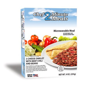 Chef Minute Meals Inc. 3 Cheese Omelet with Beef Chili and Beans