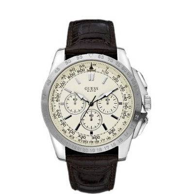 Guess MPH Chrono Brown Leather White Dial Mens Watch W16559G3