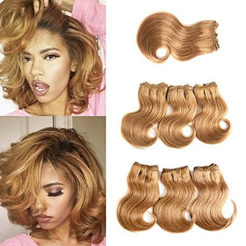 Brazilian Virgin Hair With Closure Cheap Short Hair Extensions 27# Honey blonde Bob Weave Human Hair Body Wave Bunldes With Closure