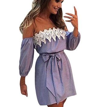 Kstare Women Off Shoulder Floral Lace Dress Casual Sleeveless Evening Party Short Mini Dress (Blue, XL)