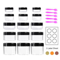 Sogoo 15 Pieces Empty Cosmetic Sample Containers with Lids 3/5/10/15/20 Grams Plastic Cosmetic Pot Jars with Screw Cap and 5 Pieces Mini Spatula,18Pcs Self-Adhesive Removable Labels