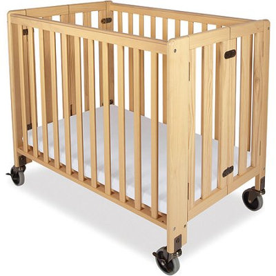 Foundations HideAway Folding Full-Size Fixed-Side Crib, Natural
