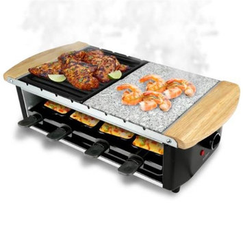 Nutrichef PKGRST54 Two-Tier Party Cooktop Stone Plate & Metal Grills