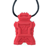 chubuddy Robot Chewy Robotz - Red, Non-Toxic, For Light Chewers (Chew Factor 1.5)