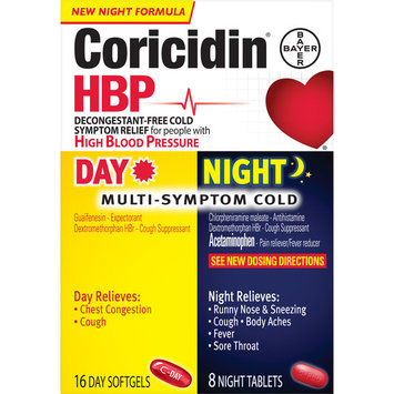 Coricidin HBP, Multi-Symptom Cold Day & Night, 24 CT
