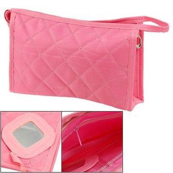Women Grid Print Medium Cosmetic Storage Purse Bag Pink