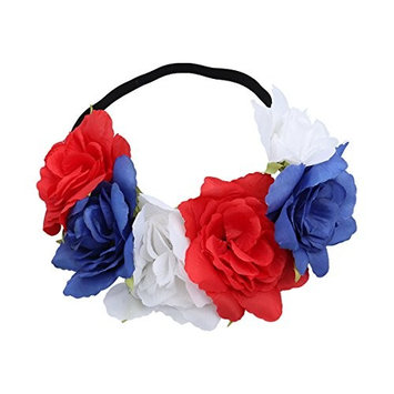 LUOEM Patriotic Flower Headband 4th of July Crown Hairband Rose Flower Stretch Headband American Independence Day Party Favor for Kids Adults