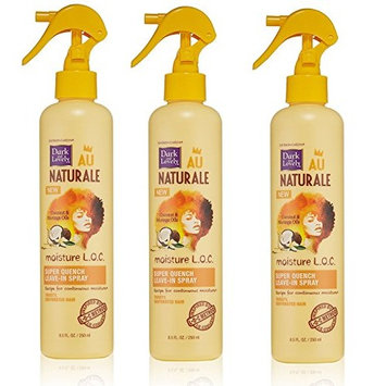 [PACK OF 3] DARK AND LOVELY AU NAT MOIST LOC SUPER QUENCH LEAVE-IN SPRAY 8.5oz: Beauty