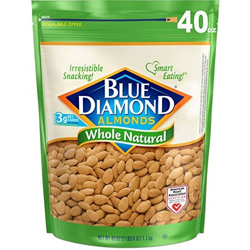 Blue Diamond Almonds, Whole Natural, 40 Ounce
