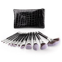 Makeup Brush Set, Anjou 12pcs Essential Cosmetic Brushes for Foundation Blush Contour Concealer Highlight Eyeliner Eye Shadow, Synthetic Fiber Bristles, Waterproof Bag Included