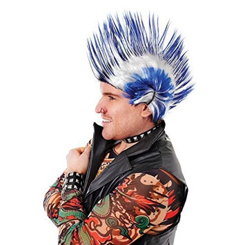 Unisex Mohican Wig Accessory for 80s Punk indian Fancy Dress Wig . Blue/White [Blue / White]