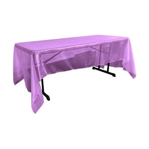 LA Linen TCOrgz60x144-PurpleO23 Sheer Mirror Organza Square Tablecloth Purple - 60 x 144 in.