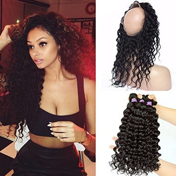Ruma Hair 8A Brazilian Deep Wave Wavy 360 Lace Frontal Closure With Bundles Unprocessed Human Hair Weaves With Full Frontal Lace Band Closure 4Pcs Lot (14 with 14 16 18)