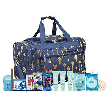 Maternity Hospital Labor Duffle Bag For Birth, Pre-packed Toiletry Bag - Arrow Gold Navy