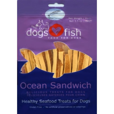 Dogs Love Fish Ocean Sandwich Dog Treat, 3.5 oz