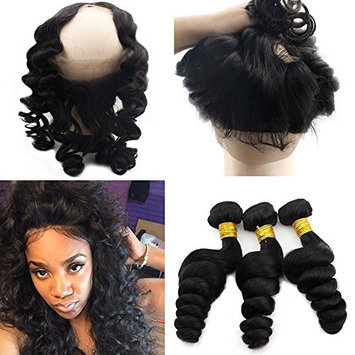 Atina Hair Pre Plucked 360 Lace Frontal Band Brazilian Loose Curly With Bundles Human Hair Weave With Frontal