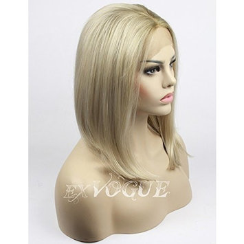 Exvogue Ombre Bob Wig African American Synthetic Lace Front Blonde Wigs for Women Short Silk Straight Middle Parting