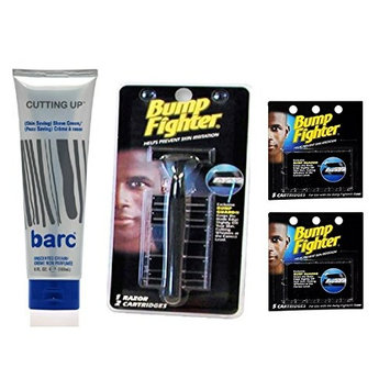 Barc Cutting Up, Unscented Shave Cream, 6 Oz + Bump Fighter Razor for Men + Bump Fighter Cartridge Refill, 5 Ct (Pack of 2) + FREE Curad Bandages 8 Ct.