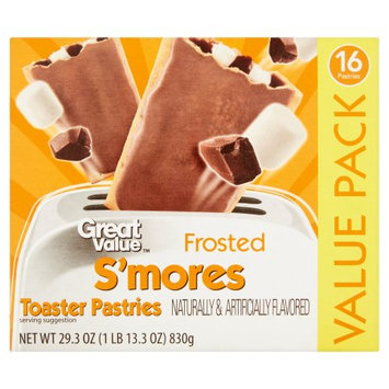 Great Value Frosted S'mores Toaster Pastries, 16 count, 29.3 oz