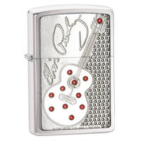 Zippo Elvis Presley Lighter with Emblem and Crystallized Elements, Black, 5 1/2 x 3 1/2cm