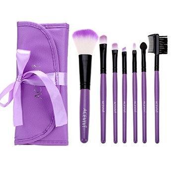 ACEVIVI Gorgeous 7 pcs Yellow Kabuki Makeup Brush Set Stylish Roller Makeup Brush Case