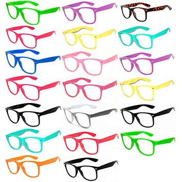 (20 Pieces Per Case) Wholesale Lot Clear Lens Glasses. Assorted Colored Frame Fashion Glasses. Bulk Glasses - Wholesale Bulk Nerdy Party Glasses, Party Supplies.: Everything Else