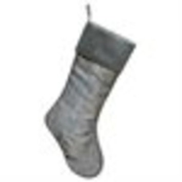 Pack of 6 Elegant Pewter Gray Jacquard Style Rustic Tree Christmas Stocking with Ribbed Cuff 19