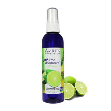 Organic Lime Deodorant Spray – All Natural PARABEN Free Body Odor Eliminator, NON-GMO & 100% Natural Essential oil Blend – SIZE: 4oz : AMRITA Aromatherapy