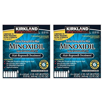 Kirkland Minoxidil 5 percentage Extra Strength Hair Loss Regrowth Treatment Men, 2 Pack (6 Months Supply)