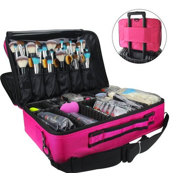 MONSTINA Cosmetic Bags 3 Layer Cosmetic Organizer Makeup Case Beauty Artist Storage Brush Box with Shoulder Strap(L-Rose Red)