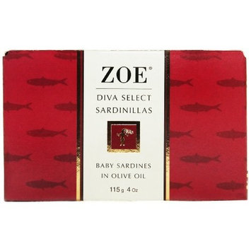 Zoe Diva Select Sardinillas in Olive Oil 4 Ounce Tin (Pack of 4), Baby Sardines Packed in Gourmet Extra Virgin Olive Oil, Protein Rich Omega-3 Rich Antioxidant Rich