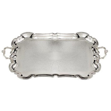 A & M Judaica 58159 Silver Plated Candles Tray with Handles 19 x 13 in.