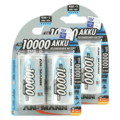 Ansmann 5030642 ANSMANN Rechargeable D Batteries 10.000mAh maxE ready2use NiMH Professional D Battery pre-charged Power Accu for flashlight