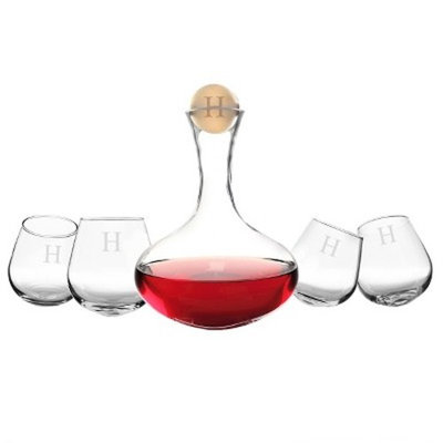 Cathy's Concepts Personalized 5 Piece Wine Decanter & Tipsy Tasters Set A-Z
