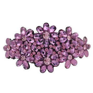 AENMIL Woman's Headwear Acrylic Hair Clip Diamond Crystal Hairpin Upscale Flourishing Hair Accessories - Purple
