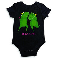 Design With Vinyl Funny Baby Clothes - Kiss Me Frog - Shortsleeve Baby to Toddler