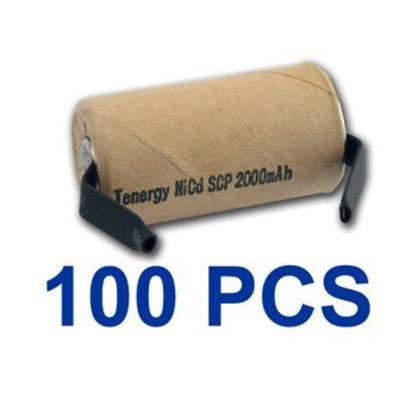 100 Pieces NiCd SubC 2200mAh Paper Wrapped Rechargeable Batteries With Tabs