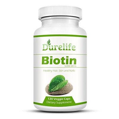 Biotin Supplement 120 count High Potency 5000 mcg By Durelife