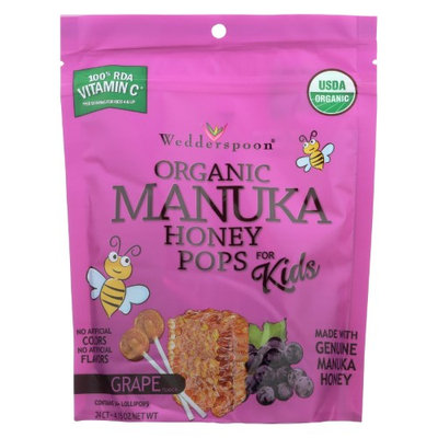 Wedderspoon 504212 Organic Manuka Honey Pops Grape 24 Count - Case of 6